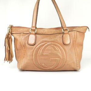 Auth Gucci Tote Bag Browns Leather #411G4184